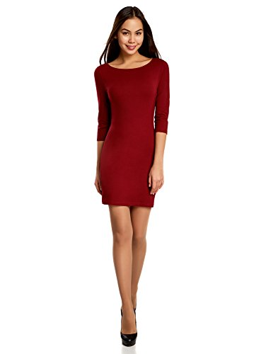 oodji Ultra Damen Jersey-Kleid Basic, Rot, DE 36 / EU 38 / S (Baumwoll-kleid Perfekte)