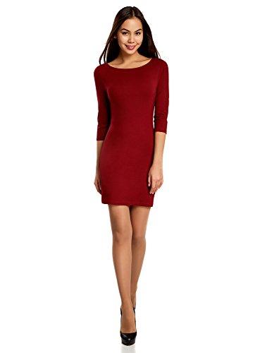 oodji Ultra Damen Jersey-Kleid Basic, Rot, DE 32 / EU 34 / XXS