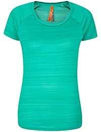 Mountain Warehouse Striped Womens Tee - UPF30+ UV Protection Summer T-Shirt, Antibacterial Tee Shirt, Lightweight, Quick Drying Ladies Top – for Travelling & Gym
