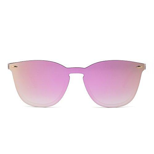 Gafas de Sol Sin Montura Una Pieza de Espejo Reflexivo Anteojos Para H