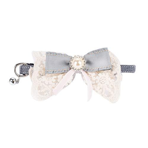Xinwcang Haustier Hundehalsband und Leine Set Hunde Fliege Kragen Hunde Halsbände mit Glocke Hochzeit Kragen für Kleine Hunde Als Bild14 S -