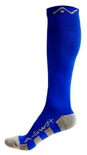 A-Swift - Par de calcetines de compresión unisex por debajo de la rodilla, ideales para correr, atletismo, crossfit, vuelos en avión, enfermería, maternidad y embarazo
