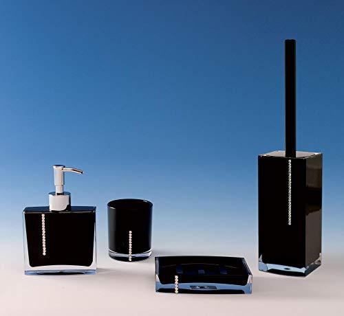 SANWOOD Badaccessoires Set 4-teilig Serie: Marilyn schwarz mit Swarovski Elements Seifenschale Seifenspender WC-Bürstengarnitur Mundspülbecher Waschbeckenzubehör