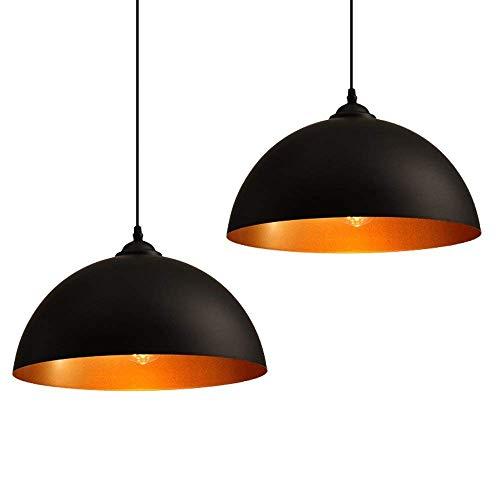 CARYS 2 x industrielle Vintage Design Suspension Lustre Noir E27 Métal abat jour Luminaires Lampe Salon Chambre La cuisine Bar Cafe Restaurant