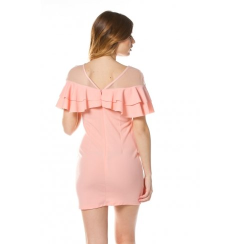 Princesse boutique - Robe moulante à volant ROSE Rose