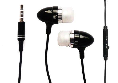 Compact Headset (Emartbuy® Schwarz In Ear Kopfhörer Headset mit Mikrofon Geeignet Für Sony Xperia X Compact / Sony Xperia XZ)