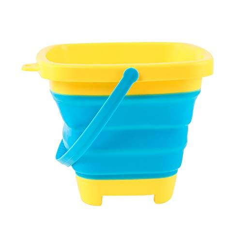 Momola Seau Pliant en Plastique Souple,Seau de Plage Portable pour Enfants,Jouet Multifonctionnel portatif de Sable du Seau 2.5L de Plage pour la fête d'été d'enfants Jouant (Bleu)