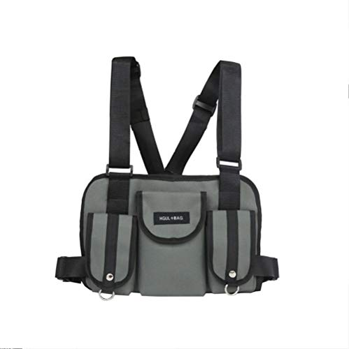 Zaino Monospalla Tattico Chest Rig Waist Bag Pack Marsupio Multi-Tasca Hip Hop Streetwear Funzionale Tactical Military Chest Bag Grigio