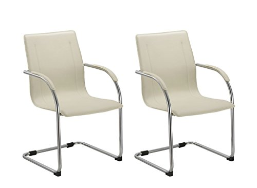 Duhome 0691 2x Konferenzstuhl Besucherstuhl Creme Freischwinger Beistellstuhl aus Kunstleder