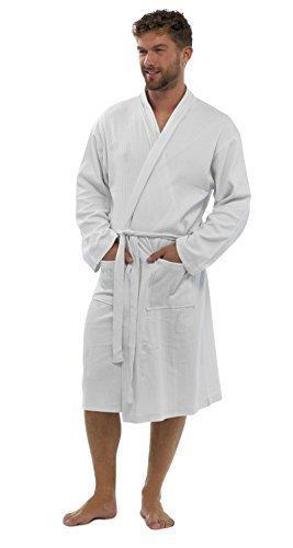 Strong Souls Herren Schlicht 100% Baumwolle Waffel Bademantel Bademantel Mit gürtel Hausmantel Herren Größe EU S - XL - Weiß, L/XL (Robe Belted Fleece)