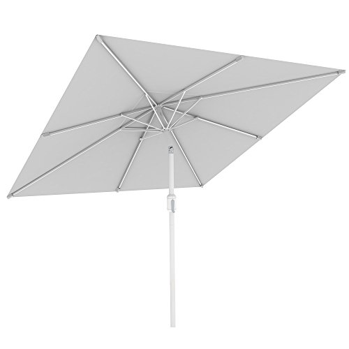 PARAMONDO Interpara Ombrellone da giardino e balcone 3 x 3m (quadrato / bianco) / Telaio (argento)