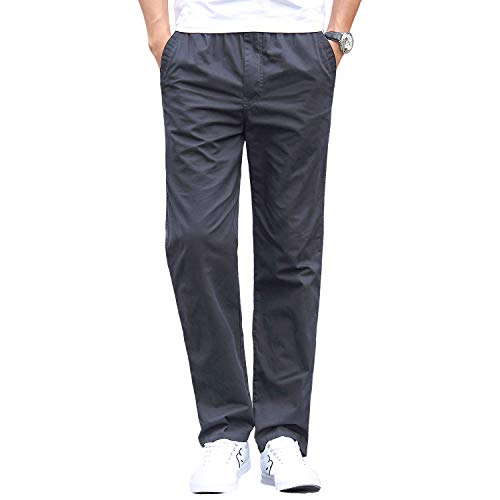 06b75eb368dd8d Gmardar Pantaloni Uomo Elegante con Tasche Laterali Zip Elastica Vita  Cotone Dritti Larghi Fit Casual Regular