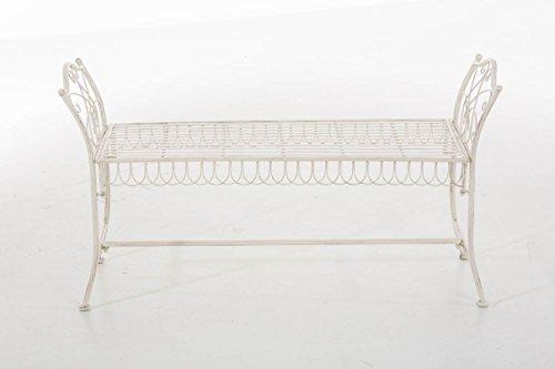CLP Gartenbank SHERAB, Chaiselongue Sitzbank Eisen lackiert, ca. 125 x 45 cm, Höhe 65 cm, Design Landhaus antik Antik Creme - 2