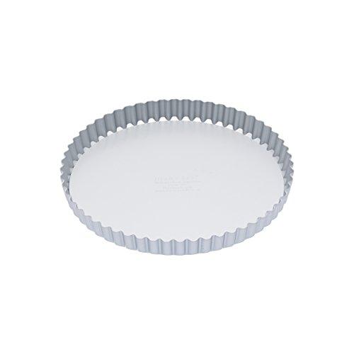 Kitchen Craft Tortenbodenform/Quicheform mit gewelltem Rand und losem Boden, Harteloxal, Silber, 23 x 23 x 2.4 cm Fluted Mini-tarte