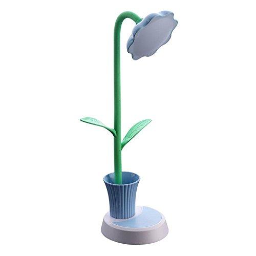 LED Kinderleser Schreibtischlampe,KINGCOO Flexible Sonnenblume Dekor Nachtlampe Dimmbar LED Touch Tischlampe Wiederaufladbare Lernlampe mit Sapling Stifthalter(Blau)