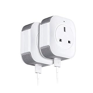 coosa WiFi Plug Power Socket (UK Standard) Mini Wireless WiFi Smart Socket, Handy-Fernbedienung Repeater Stecker, Kontrolle der Geräte überall, Kompatibel mit Alexa, Google Home, weiß