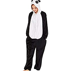 SANFASHION Pyjamas Mignon de Chambre Femmes Hiver Polaire Broderie Panda Capuche Manche Longue Vêtement Combinaison à la Maison (Noir,M)