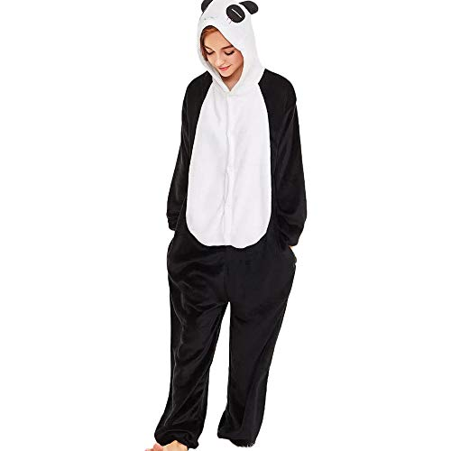 Adulte Unisexe Anime Animal Fleece Costume Cosplay Combinaison Pyjama Outfit Nuit VêTements Onesie Fleece Halloween SoiréE De DéGuisement Panda Jumpsuit Hooded Hoodie Sweat A Capuche (M, Noir Blanc)