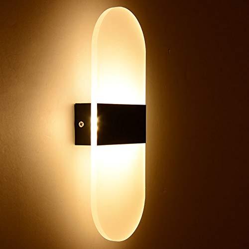 Applique da parete a led su per il cubo indoor outdoor camera sconce decor camera da letto hotel, ovale-bianco caldo-nero al, 14x6cm 3w