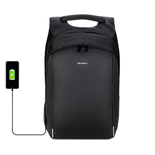 Xnuoyo 15.6 Pollici Antifurto TSA Laptop Zaino Porta PC, 4cm Espandibile Durevole Resistente all'Acqua Borse per Laptop con Porta di Ricarica USB Striscia Riflettente Daypackper Affari Scuola Viaggi