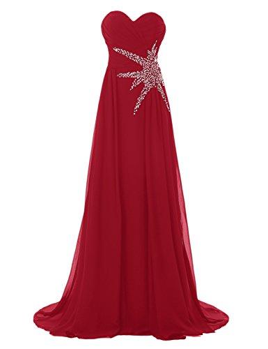 Bbonlinedress Robe de cérémonie Robe de demoiselle d'honneur bustier en cœur longueur ras du sol Rouge Foncé