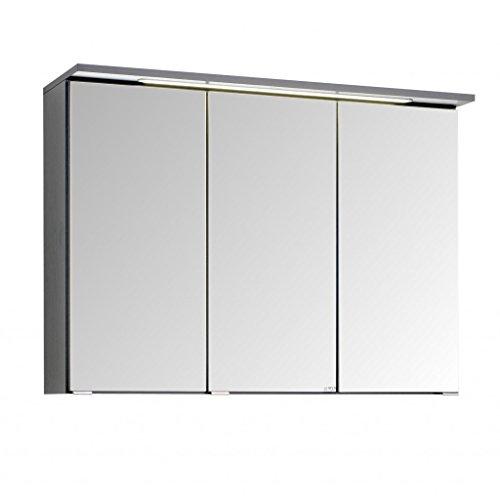 3D Spiegelschrank in 5 verschiedenen breiten Bolina Graphitgrau inkl. intergrierter Beleuchtung-Steckdose (breite 90cm)