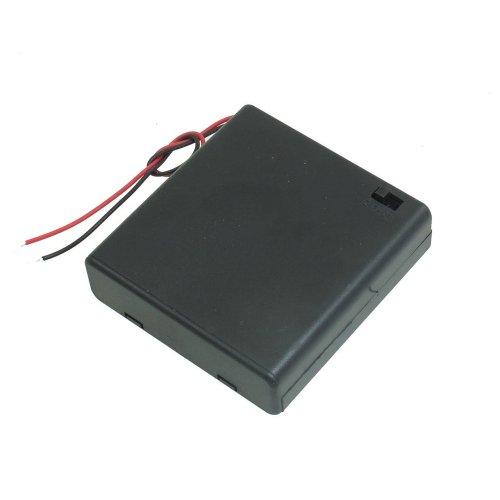 TOOGOO (R) Vano batteria di plastica con coperchio nero interruttore ON / OFF 4 x 1,5 V AA