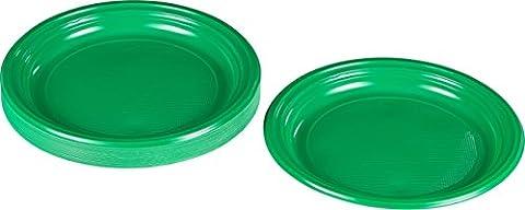 Kigima Assiettes jetables en plastique vert, 30 pièces, diamètre 22cm