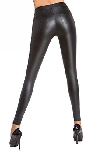 Pariser-Mode Treggings,Leggings matt schwarz in Leder-Optik im Stil einer 5-Pockets-Jeans Pocket Mode Jean