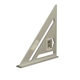 Équerre en aluminium solide Corps gradué et table de conversion des mesures 185mm Échelle rapporteur 0-90° Utilisation sur mesure d'angle et découpe. Poids : 125g Dimensions: 185 x 185 x 260mm