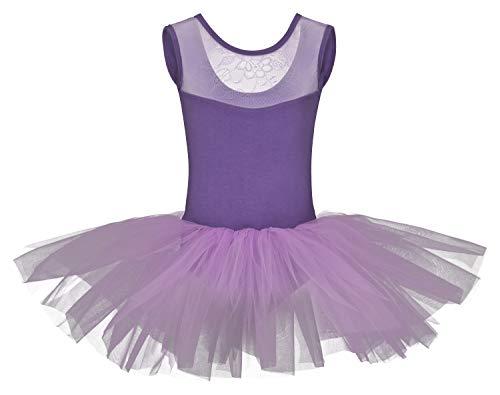 Lavendel Mädchen Kostüm - tanzmuster Kinder Ballett Tutu Lottie aus weicher Baumwolle mit Breiten Trägern und Spitzeneinsatz vorn in Lavendel, Größe:128/134