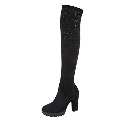 Overknee Stiefel Damenschuhe Klassischer Stiefel Pump Strass Besetzte Reißverschluss Ital-Design Stiefel Schwarz