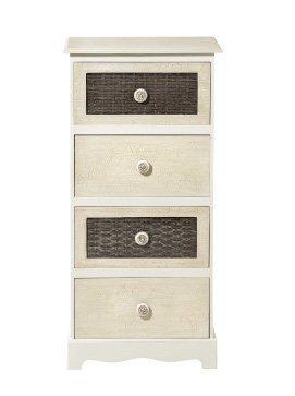 Cassettiera bianca e avorio in legno con intarsi stile vintage L'ARTE DI NACCHI DS-41