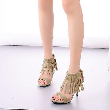 Talons de femme Chaussures de printemps Été Automne Club Leatherette Bureau et carrière Robe de soirée et soirée Stiletto Talon Tassel Brown Grey Khaki Khaki