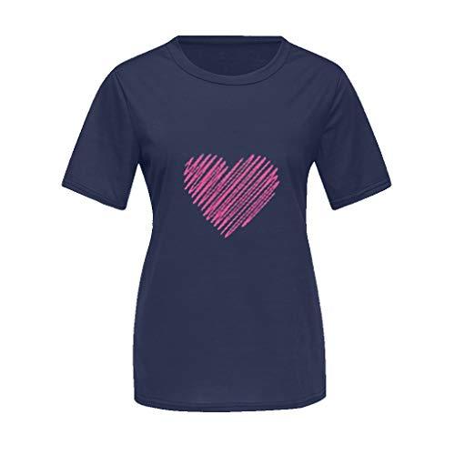 Cooljun Mommy & Me Mom & Baby Eltern-Kind-Sommer-Herz gedruckt T-Shirt Kurzhülse lässig Tops T-Shirt Bluse Familie passende Kleidung (Junior Bluse Kleidung)