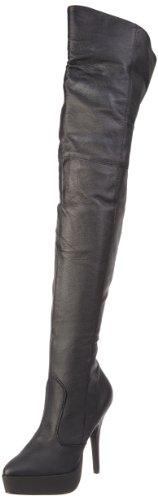 Devious Damen INDULGE-3011 Stiefel, Schwarz (Blk Leather (P)), 46 EU Schuhe Spike Heel