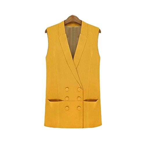 CHENGYANG Damen Business Stilvoll Zweireiher Ärmellos Blazer Anzugweste Jacke mit Revers Gelb M