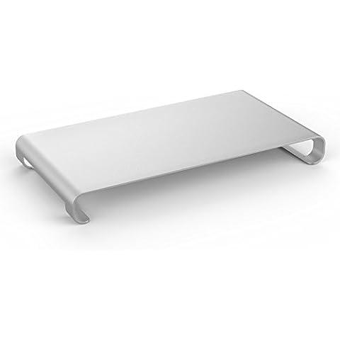 MoKo Monitor Stand, Universale Alluminio Supporto per Monitor / Laptop / iMac / MacBook / PC, con Deposito per la Tastiera, ARGENTO