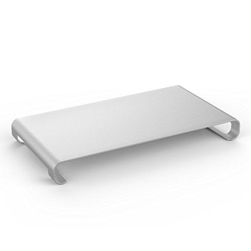 MoKo Monitor Ständer - Universal Aluminium Bildschirm Halter Halterung Stand mit Keyboard Storage für Monitor / Laptop / iMac / MacBook / PC Display, Silber