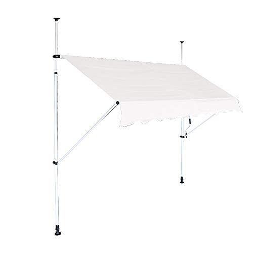 HENGMEI Markise Einziehbar 150X120cm Klemmmarkise Balkonmarkise Sonnenschutz ohne Bohren Höhenverstellbar (150cm breit, Beige)