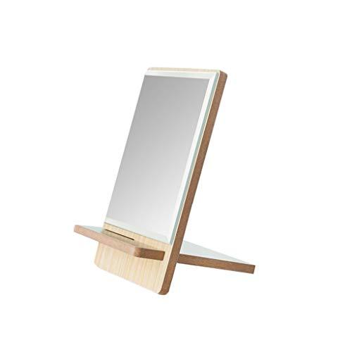 JJZI-L Espejo Portable de Madera, rectángulo de Alta definición Espejo de Mano de los Hombres de Afeitar...
