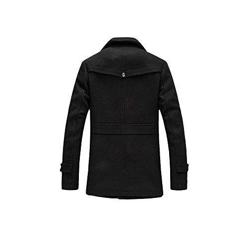 Herren Wintermantel mit Stehkragen und Hochwertige Materialqualität Lange Jacke von YOUTHUP Schwarz