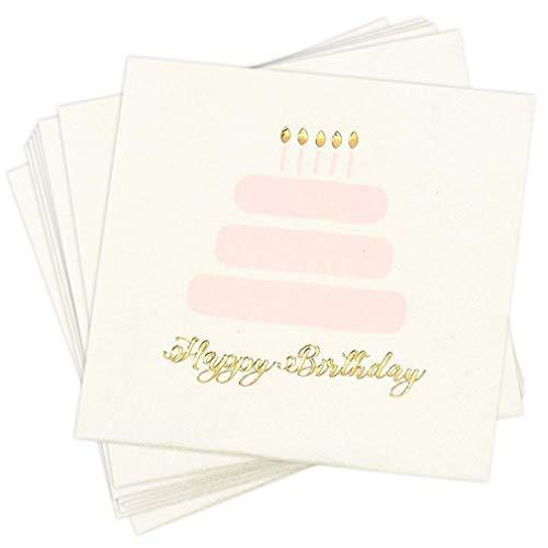 Cocktailservietten, Einweg-Papierservietten, verschiedene festliche Designs, 50 Stück Herzlichen Glückwunsch zum Geburtstag -