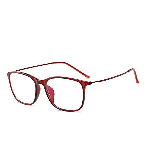 Yangjing-hl Flache Gläser Metall quadratischen Brillengestell Retro-Anti-Blau-Brille kann mit Myopie Brille Weinrot Box ausgestattet Werden