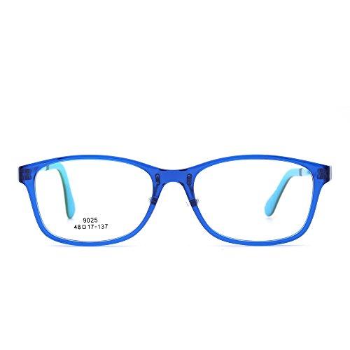 JIM HALO Kinder Rechteck Brillen Optisch TR Rahmen Mädchen Jungen Nicht Verschreibung Klar Linse(Blau/Klar)