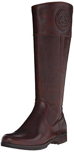 Rockport Tristina Rosette Tall Boot Wide Calf Cuir Botte Brown Sugar