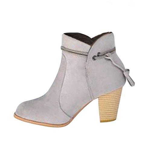 Logobeing Botines Mujer Tacon Invierno Planos Ancho Piel Botas de Agua con Cremallera Botas Altas Mujer Combat Zapatos de Mujer (36,Gris)