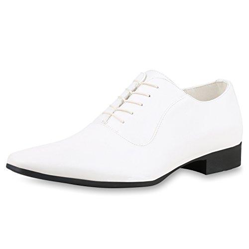 SCARPE VITA Herren Klassische Business Schnürer Schnürschuhe Leder-Optik Schuhe 161099 Weiss 43