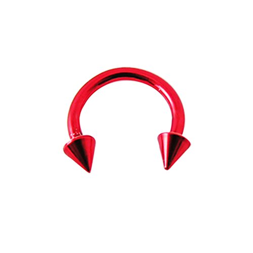 16 Gauge - 8MM Länge roten Neon eloxiertem 316L chirurgischer Stahl Circular Barbell mit Kegel Septum Piercing