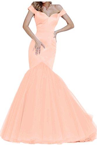 TOSKANA BRAUT Elegant Mermaid Satin Tuell Promkleid Lang Party Fest Ball Abendkleider Orange